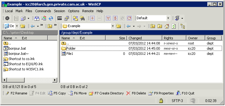 How WinSCP shows unix permisissions